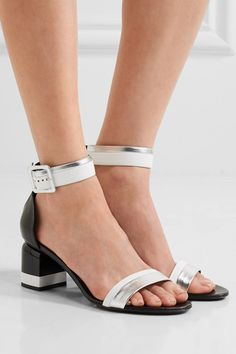 Heel measures approximately 70mm/ 3 inches Black, white and silver leather Buckle-fastening ankle strap Made in Italy