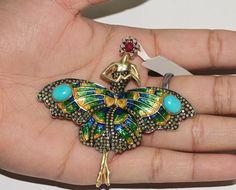 ANGEL LADY BROOCH Pendant 14 K Gold Gemstone Silver Diamond Pave Enamel Jewelry #Handmade