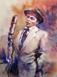 Frank Sinatra by John Gampert King Of Music, Old Hollywood, Caricature, Frank Sinatra Art, Blue Eyes, Cool Art, Art Photography, Sketches, Illustration