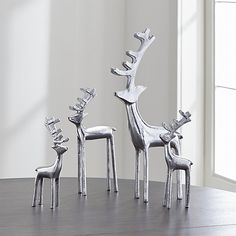 Display alone or create a herd of glistening silver reindeer. Handcrafted of aluminum, the reindeer are available in four sizes, from small to extra large.