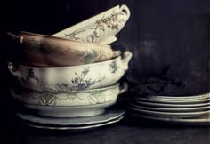 antique serving dishes. Katie Quinn Davies- photographer from WhatKatieAte.com