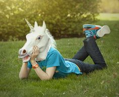 Unisex Halloween Unicorn Horse Head Mask Latex Prop Animal Cosplay Costume Party #Unbranded