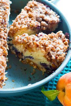 Gluten-Free Blueberry Peach Coffee Cake [Dairy-Free too] - Grain Changer Peach Scones, Peach Bread, Gluten Free Peach, Gluten Free Blueberry, Peach Cake Recipes, Pie Recipes, Peach Coffee Cakes, Paleo Dessert, Gluten Free Baking