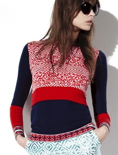Black and red sweater by Prabal Gurung