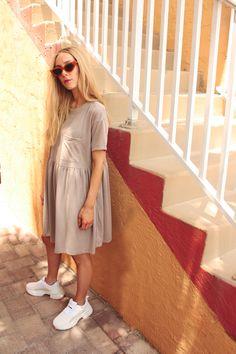 Manuka $55 ~ #style #fashion #womenswear #cool #taupe #white #dadsneakers #fresh #electricblue #modeststyle #modestlooks #modestfashion #modern #florida #freshfinds #artdeco Beach Pool, Smocking, Style Fashion, Taupe, Cover Up, Dressing, Florida, Shirt Dress, Fresh
