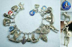 Nordic Scandinavian Finland Denmark Norway Sweden Vintage Silver Charm Bracelet   eBay