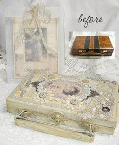 Shabby Chic Inspired briefcase redo