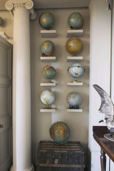 Globe display as wall decor. World Globes, Map Globe, Small Shelves, Floating Shelves, Park Weddings, Displaying Collections, Interiores Design, Decoration, My Room