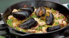 Quick Paella with Chorizo, Shrimp and Chicken Recipe : Geoffrey Zakarian : Food Network   THE KITCHEN