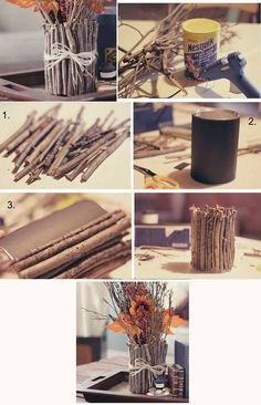 Obsequios que la economía no impedirá que regales ¡A reciclar! diy wood crafts for fall - Diy Fall Crafts Diy Para A Casa, Diy Casa, Rope Crafts, Diy Home Crafts, Fall Crafts, Vintage Diy, Vintage Ideas, Vintage Photos, Garrafa Diy