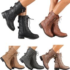 Womens Combat Military Boots Lace Up Buckle New Women Fashion Boot Shoes Size #Unbranded #Military