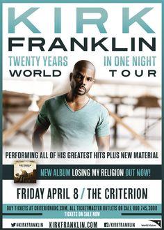 OKLAHOMA CITY 4/8/16 Don't miss Kirk Franklin in OKC April 8th! #kirkfranklin #oklahoma #oklahomacity #okc #christian #worship #music #gospel #concert #tour #event
