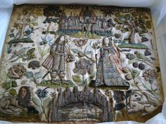 1670's extant embroidered stumpwork panel, pre conservation