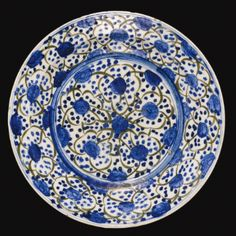A Kubachi blue, black and white dish, Safavid Persia, 17th century - Sotheby's