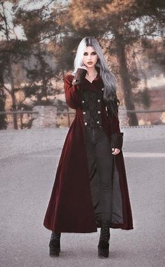 Wine Red Double Breasted Gothic Long Coat for Women Plus Size Goth, Gothic Coat, Vintage Goth, Mode Costume, Langer Mantel, Fantasy Dress, Character Outfits, Dark Fashion, Victorian Fashion