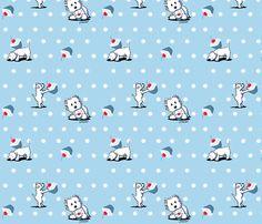 Cupcake Westies fabric by KiniArt™ on Spoonflower - custom fabric