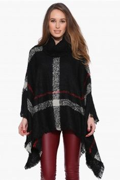 Plaid Poncho Sweater