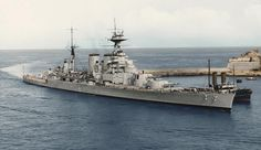 HMS Hood coming into the harbour at Malta mid 1938. (coloured by Colin Rowe)