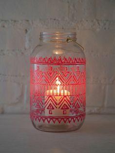 Hand-painted mason jar lantern