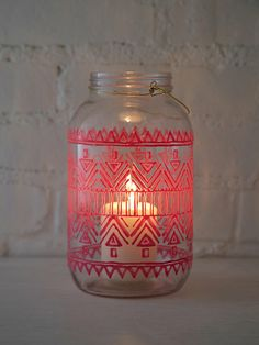 Hand-painted mason jar lantern