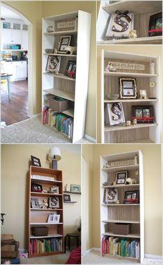 put beadboard onto back of bookcase