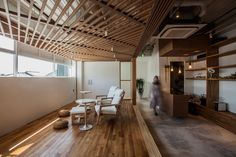 haspali spa by three ball cascade contains cantilevered treatment rooms