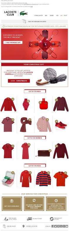 Christmas email from Lacoste Email New, Holiday Emails, Lacoste, Gifts For Women, Graphic Design, Christmas, Shopping, Ideas, Xmas