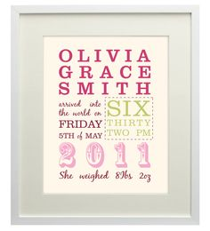 New Baby Personalised Print - Ideal Gift or Keepsake. $27.00, via Etsy.