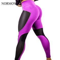 NORMOV S-XL 3 Colors Fashion High Waist Mesh Leggings Workout Breathable Push Up Leggings Sexy Slim Polyester Legging #Affiliate