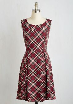 I Rest My Grace Dress in Plaid - Red, Plaid, Print, Daytime Party, Fit & Flare, Sleeveless, Woven, Good, Mid-length, Variation