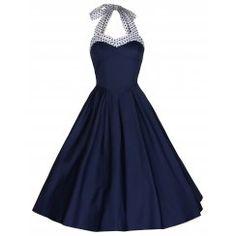 'Carola' Navy Polka Halterneck Swing Dress