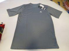 Men's ADIDAS active performance shirt comfort tech small S lead grey SS top…