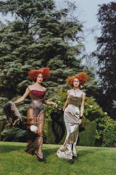Carolyn Murphy and Trish Goff in Christian Dior Haute Couture by John Galliano, photographed by Peter Lindbergh for Vogue, 1997
