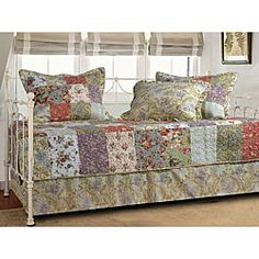 @Overstock - Complete your daybed with this Blooming Prairie 5-piece bedding set  Set includes quilt, bed skirt and three pillow shams  The vibrant colors on the quilt are assembled from pieced fabric blocks  http://www.overstock.com/Bedding-Bath/Blooming-Prairie-5-piece-Daybed-Set/4604224/product.html?CID=214117 $57.03
