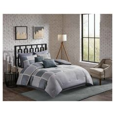 Black & Grey Austin Herringbone Print Comforter Set (Queen) 8pc, Gray