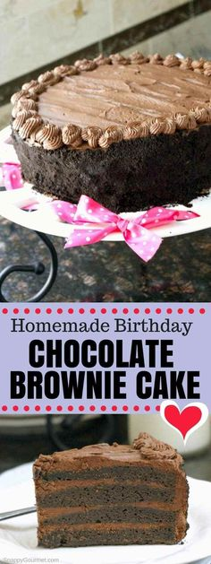 Homemade Birthday Chocolate Brownie Cake Recipe, an easy super moist from scratch layered chocolate brownie cake perfect for birthdays and special occasions! Decorated with a rich dark chocolate frosting and Oreo crumbs! Brownie Recipes, Cake Recipes, Dessert Recipes, Brownie Cake Recipe From Scratch, Chocolate Brownie Cake, Chocolate Desserts, Chocolate Chocolate, Cupcakes, Cupcake Cakes