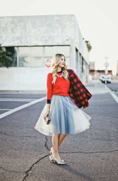 sequin sweater, tulle skirt, flannel coat #fashion #fashionblogger #ootd #loveit #style