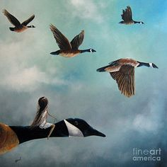 Surrealism Painting - Queen Of The Canada Geese By Shawna Erback by Shawna Erback