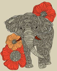 elephant and poppies :)