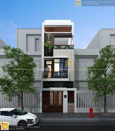 Thiết kế nhà phố 3 tầng hiện đại. Phối cảnh mặt đứng ... 3 Storey House Design, House Front Design, Modern House Design, Style At Home, Narrow House, House Elevation, Minimalist Home Decor, Modern Architecture House, New Home Designs