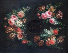 Jean Baptiste Morel — Garland of Flowers, : Leamington Spa Art Gallery & Museum Royal, Leamington Spa, Warwickshire. Flower Frame, Flower Art, Spa Art, Flower Garlands, Art Uk, Dark Backgrounds, Your Paintings, Still Life, Decoupage