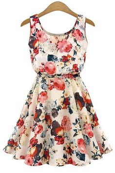 Stylish Scoop Collar Sleeveless Floral Print A-Line Chiffon Dress For Women