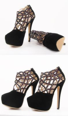 Crystal cut out heels