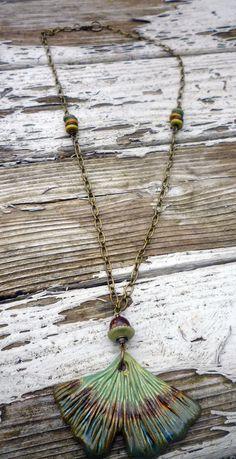 Ginko Leaf Ceramic Pendant Olive Green by McKeeJewelryDesigns