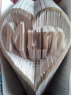 Book folding pattern for Mum in a heart by BookFoldingForever