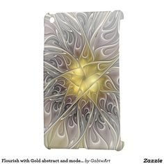 Flourish with Gold abstract and modern Fractal Art Cover For The iPad Mini