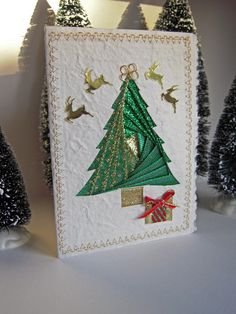 Christmas Tree Card Iris Folding of by warmtouchcreations on Etsy, $7.00
