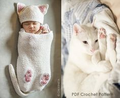 THIS IS A DIGITAL PATTERN (PDF) AND NOT A PHYSICAL PRODUCT. THIS CROCHET PATTERN IS WRITTEN AND CHARTED. Due to the digital nature of the pattern no refunds will be issued.  A cute cat cocoon set for baby with matching booties that can be attached to the cocoon when not in use. The cocoon, hat, and tail are all worked in spiraled rounds for a completely seamless look. Use this easy-to-follow, quick and simple pattern to make a cute outfit for your little one or the perfect baby shower gift…