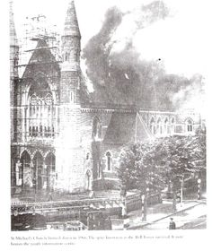 St Michaels Church blazing on July, 1965 St Micheal, Michael Church, Photo Engraving, Dublin City, Dublin Ireland, Old Photos, Canon, Emerald, Irish
