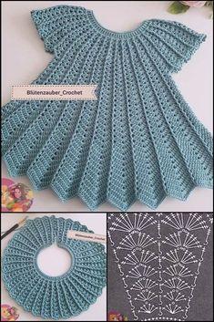 Recipes crochet Crochet Baby Dress Pattern, Crochet Baby Clothes, Baby Knitting Patterns, Baby Patterns, Crochet Lace, Crochet Stitches, Crochet Patterns, Crochet Baby Dresses, Dishcloth Crochet
